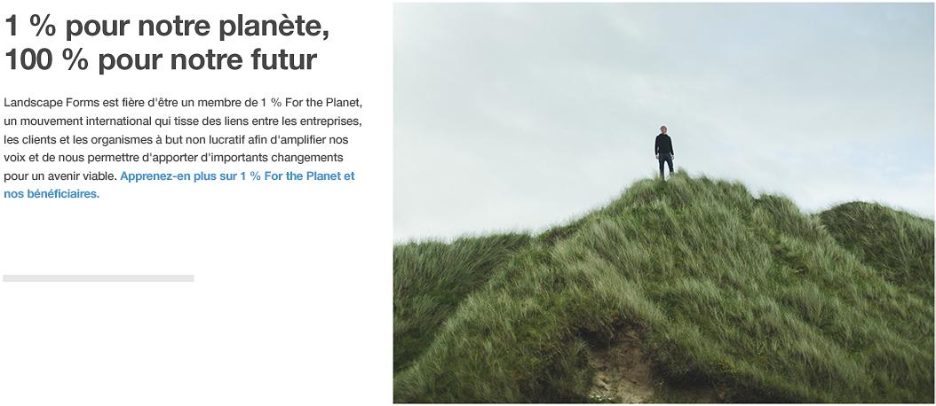Landscape Forms s'est  jointe à 1% for the Planet